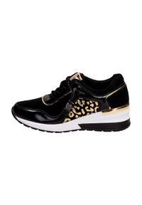 Czarne buty sportowe Vinceza na średnim obcasie, na koturnie #1