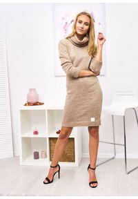 Czarny sweter Ligari Dresses długi, elegancki, w paski, z golfem