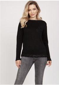 MKM - Sweterek z Ozdobnymi Ściągaczami - Czarny. Kolor: czarny. Materiał: akryl, wiskoza