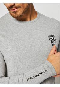 Szara koszulka z długim rękawem Karl Lagerfeld z dekoltem karo