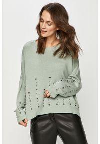Miętowy sweter Answear Lab z długim rękawem, wakacyjny, z aplikacjami, długi