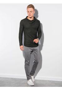 Ombre Clothing - Bluza męska bez kaptura B1222 - khaki - XXL. Typ kołnierza: bez kaptura. Kolor: brązowy. Materiał: poliester, elastan, akryl #4
