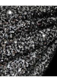 RAQUEL DINIZ - Srebrzysta sukienka midi. Okazja: na imprezę, na sylwestra. Kolor: czarny. Materiał: jedwab. Wzór: aplikacja. Typ sukienki: asymetryczne. Długość: midi