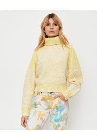 Kenzo - KENZO - Żółty wełniany sweter z golfem. Typ kołnierza: golf. Kolor: żółty. Materiał: wełna. Wzór: haft, ze splotem, kolorowy