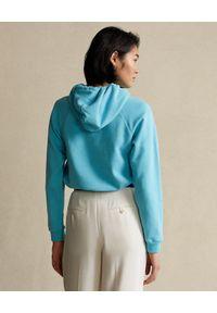 Ralph Lauren - RALPH LAUREN - Niebieska bluza z kapturem Relaxed fit. Typ kołnierza: kaptur. Kolor: niebieski. Materiał: bawełna. Długość rękawa: długi rękaw. Długość: długie. Wzór: aplikacja