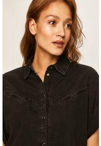 Czarna koszula Guess Jeans z krótkim rękawem, krótka