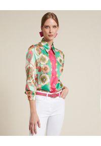 Luisa Spagnoli - LUISA SPAGNOLI - Jedwabna koszula Binomi. Kolor: biały. Materiał: jedwab. Wzór: nadruk, geometria