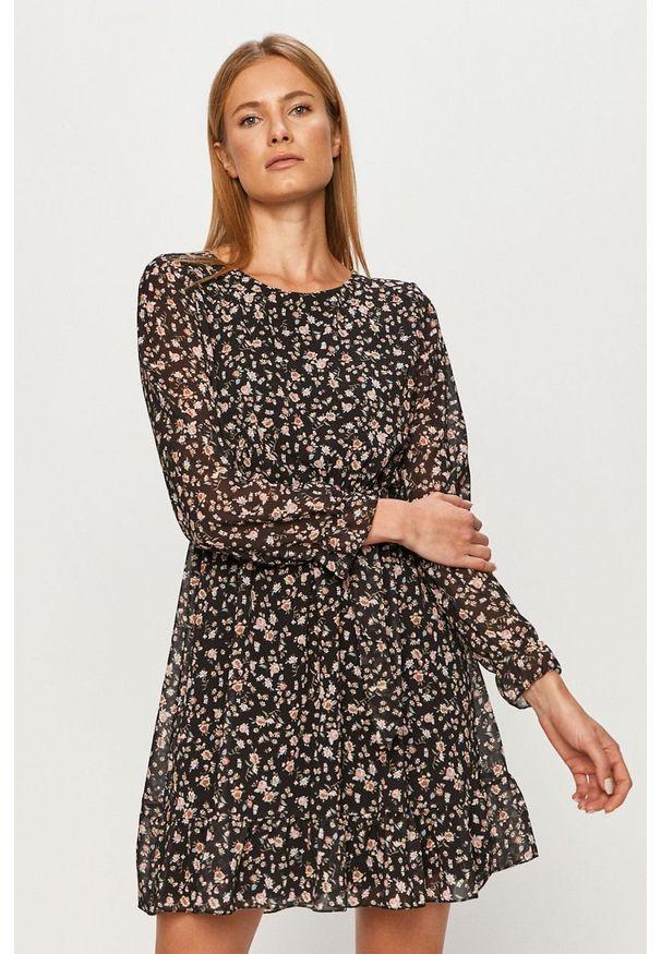 Czarna sukienka Haily's w kwiaty, rozkloszowana, mini, casualowa
