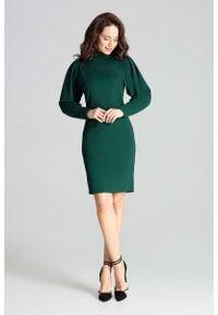 Katrus - Zielona Dopasowana Sukienka z Długim Bufiastym Rękawem. Kolor: zielony. Materiał: poliester, elastan