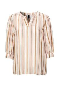 Różowa bluzka Soyaconcept elegancka, w paski, z dekoltem w serek