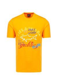 Paul and Shark - T-shirt PAUL&SHARK. Kolor: żółty. Materiał: bawełna. Długość: krótkie. Wzór: nadruk. Sezon: lato. Styl: klasyczny