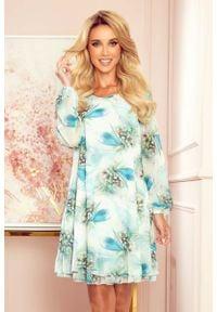 Numoco - Zwiewna Sukienka z Dekoltem na Plecach we Wzory - Niebieskie Ważki. Kolor: niebieski. Materiał: elastan, poliester
