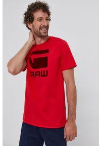 G-Star RAW - G-Star Raw - T-shirt. Okazja: na co dzień. Kolor: czerwony. Wzór: nadruk. Styl: casual
