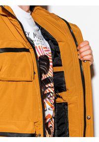 Ombre Clothing - Kurtka męska zimowa C450 - musztardowa - XXL. Kolor: żółty. Materiał: poliester. Wzór: aplikacja. Sezon: zima