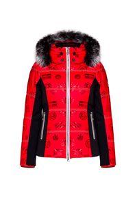 Czerwona kurtka narciarska Sportalm z nadrukiem