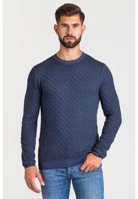 Niebieski sweter Joop! Collection w kolorowe wzory, z okrągłym kołnierzem