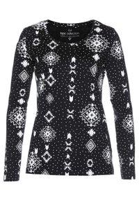 Czarna bluzka bonprix z nadrukiem, z długim rękawem, długa