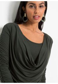 Zielona bluzka bonprix długa, z długim rękawem, elegancka, z dekoltem woda