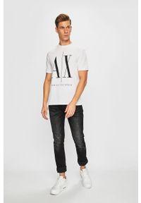 Biały t-shirt Armani Exchange z okrągłym kołnierzem, z nadrukiem, na co dzień