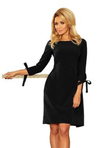Czarna sukienka na wesele Numoco z kokardą