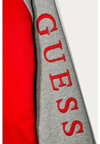 Czerwona bluza rozpinana Guess Jeans casualowa, na co dzień, z kapturem, z aplikacjami