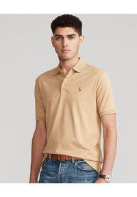Ralph Lauren - RALPH LAUREN - Brązowa koszulka polo Slim Fit Soft. Typ kołnierza: polo. Kolor: brązowy. Materiał: bawełna, prążkowany. Wzór: haft, kolorowy