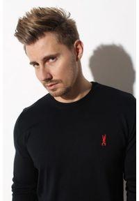 Czarny sweter Edward Orlovski z haftami, elegancki