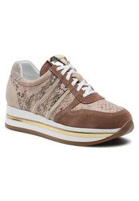 Nessi - Sneakersy NESSI - 21050 Beż. Okazja: na co dzień. Kolor: beżowy. Materiał: skóra, welur. Szerokość cholewki: normalna. Sezon: lato. Styl: casual