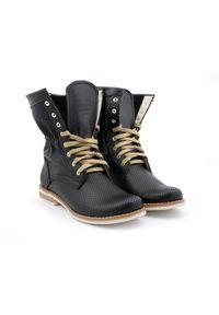 Czarne botki Zapato z cholewką za kostkę, na spacer
