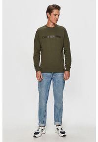 Calvin Klein Jeans - Bluza. Okazja: na co dzień. Kolor: zielony. Wzór: nadruk. Styl: casual