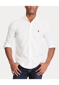 Ralph Lauren - RALPH LAUREN - Koszula Mesh Custom Fit. Typ kołnierza: polo. Kolor: biały. Materiał: mesh. Długość rękawa: długi rękaw. Długość: długie. Wzór: haft, ze splotem. Styl: klasyczny, elegancki