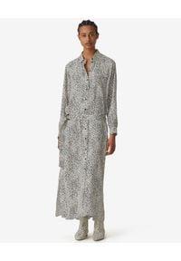 Kenzo - KENZO - Sukienka koszulowa w cętki. Okazja: na co dzień. Kolor: biały. Materiał: zamsz, materiał. Długość rękawa: długi rękaw. Wzór: aplikacja, nadruk. Typ sukienki: koszulowe. Styl: casual, klasyczny