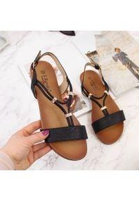 Sandały damskie regulowane paski czarne S.Barski. Zapięcie: pasek. Kolor: czarny. Materiał: skóra ekologiczna. Wzór: paski