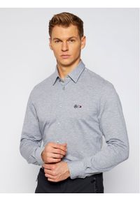 TOMMY HILFIGER - Tommy Hilfiger Tailored Koszula MERCEDES-BENZ Tech Flex Jersey TT0TT08307 Szary Slim Fit. Kolor: szary. Materiał: jersey