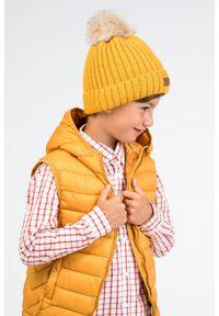 Czapka dziecięca z futerkowym pomponem PaMaMi- Jasnoszary. Kolor: szary. Materiał: poliamid, akryl