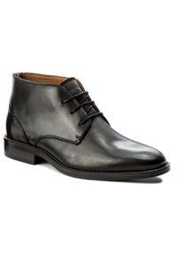 Czarne buty wizytowe TOMMY HILFIGER eleganckie, z cholewką