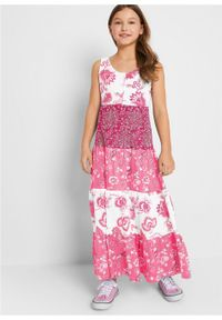 Letnia sukienka dziewczęca bonprix biel wełny - jeżynowo-czerwony. Kolor: biały. Materiał: wełna. Sezon: lato #3