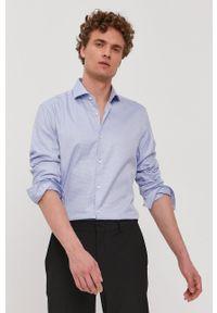 Hugo - Koszula. Typ kołnierza: kołnierzyk włoski. Kolor: niebieski. Materiał: tkanina