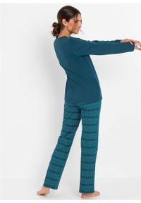 Piżama bonprix niebieskozielono-zielony morski z nadrukiem