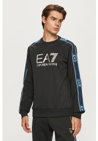 Niebieska bluza nierozpinana EA7 Emporio Armani z okrągłym kołnierzem, na co dzień