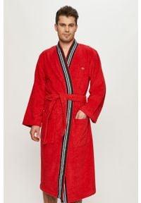Czerwony szlafrok Lacoste gładki