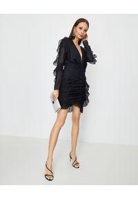 ALEXANDRE VAUTHIER - Czarna sukienka z falbankami. Typ kołnierza: kołnierz z falbankami. Kolor: czarny. Długość rękawa: długi rękaw. Wzór: aplikacja. Długość: mini