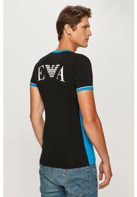 Czarny t-shirt Emporio Armani na co dzień, z nadrukiem, casualowy