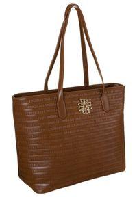 DAVID JONES - Shopper damski brązowy David Jones BAG1730-017. Kolor: brązowy. Materiał: skórzane
