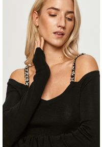 Czarny sweter Liu Jo casualowy, długi, na co dzień, z długim rękawem #6
