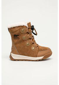 Złote buty zimowe sorel na sznurówki, z cholewką, na zimę