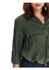 Zielona koszula TOP SECRET długa, w kolorowe wzory, z długim rękawem