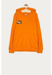 Pomarańczowa bluza adidas Originals z nadrukiem, na co dzień, z kapturem, casualowa
