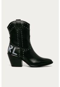 Czarne botki Karl Lagerfeld na zamek, na średnim obcasie #4