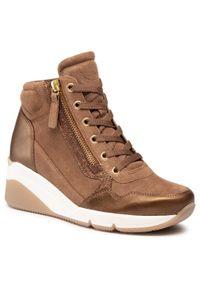 Brązowe buty sportowe Gabor na koturnie, na średnim obcasie, z cholewką